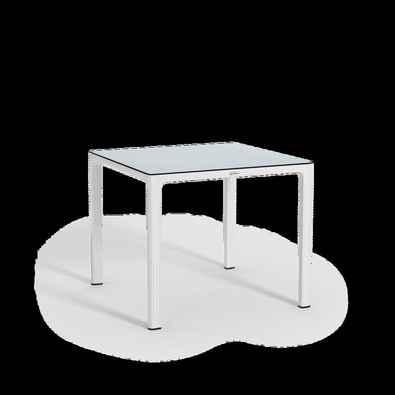 Tavolo da pranzo piccolo con piano in HPL bianco
