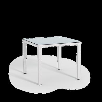 Mesa de comedor con tablero laminado de alta presión pequeña blanco
