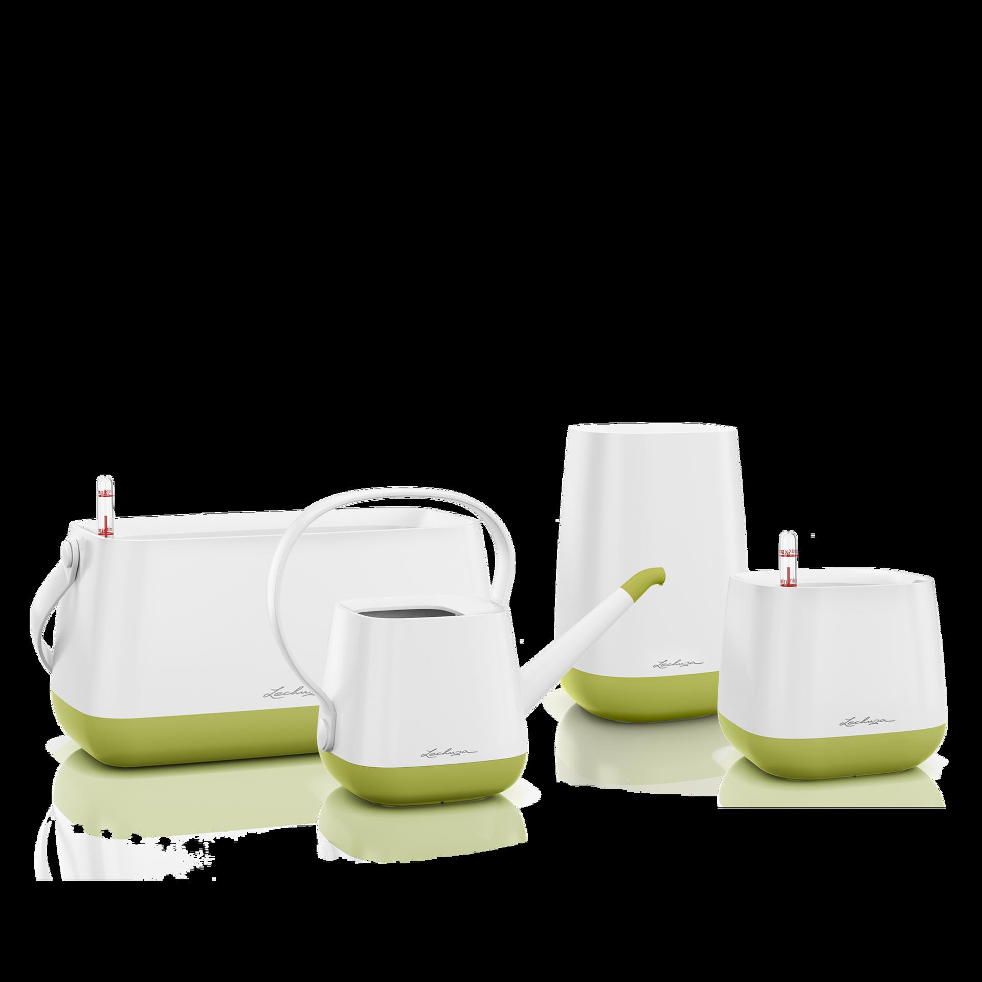 Set YULA blanco/verde pistacho satinado
