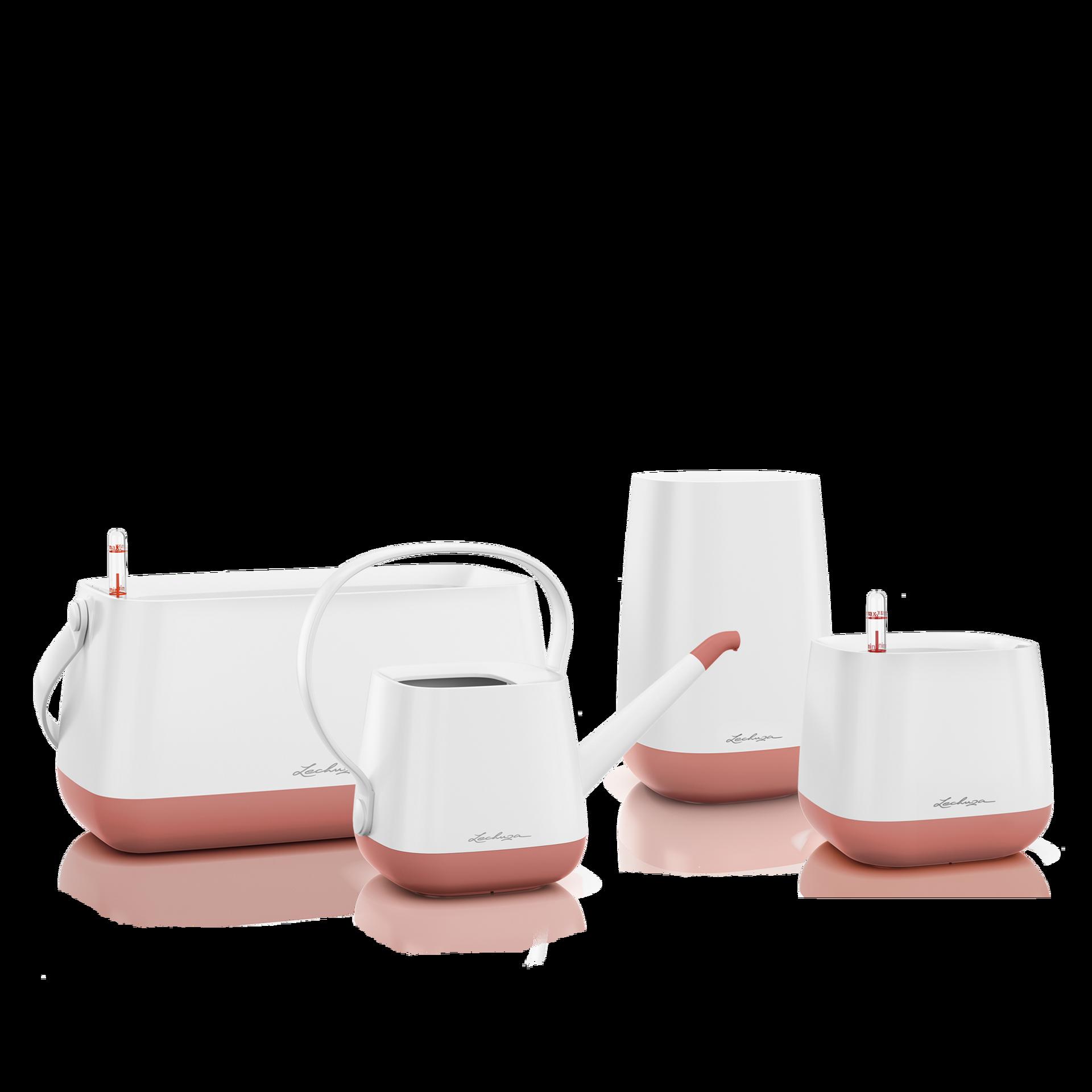 Set YULA blanco/rosa perlado satinado