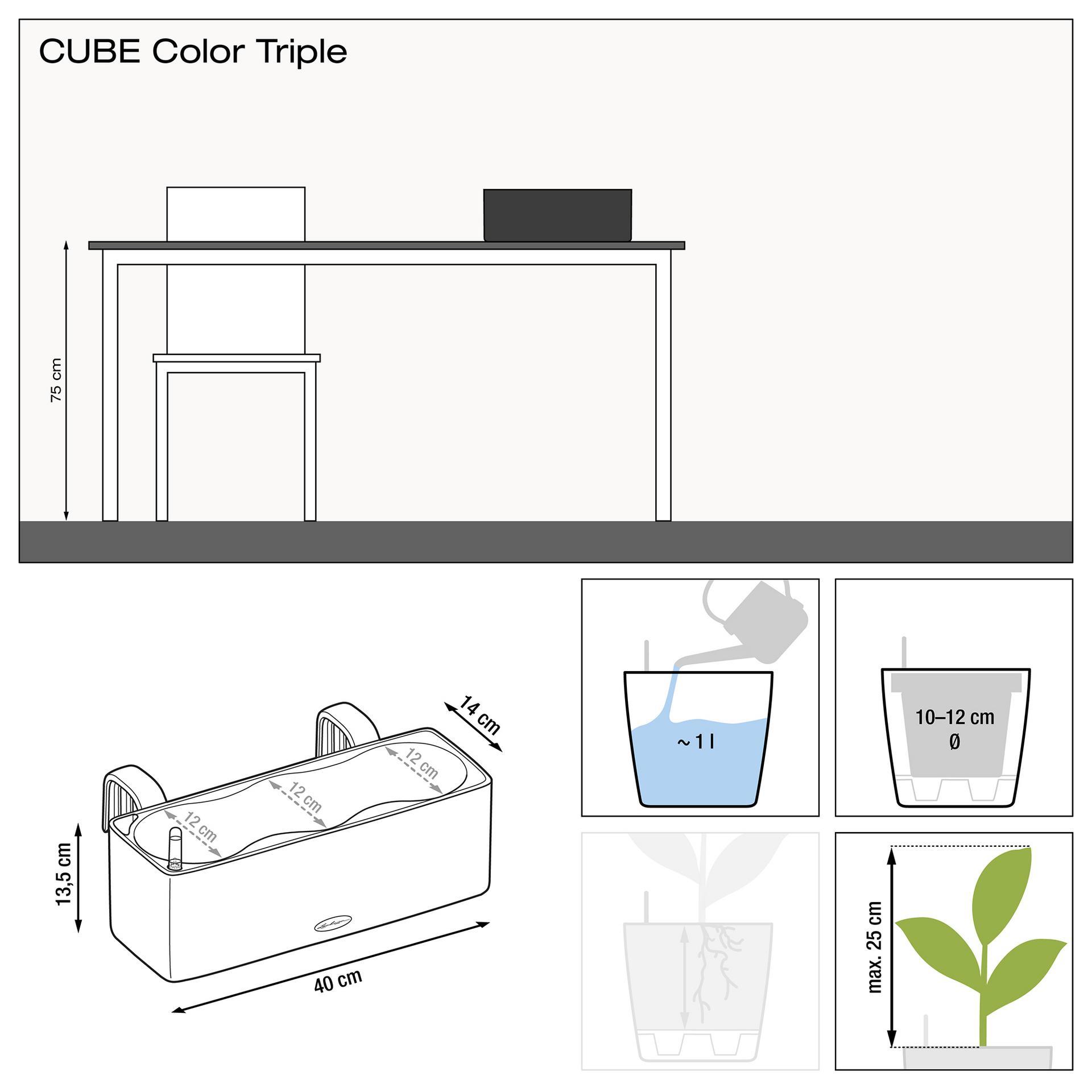 LECHUZA CUBE Color Triple weiß 40 x 14 x 13,5 cm, Balkonkasten
