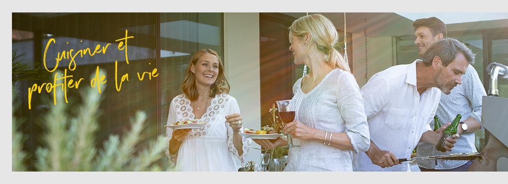 Des idées déco et des recettes pour votre cuisine d'extérieur avec des pots de fleurs de LECHUZA
