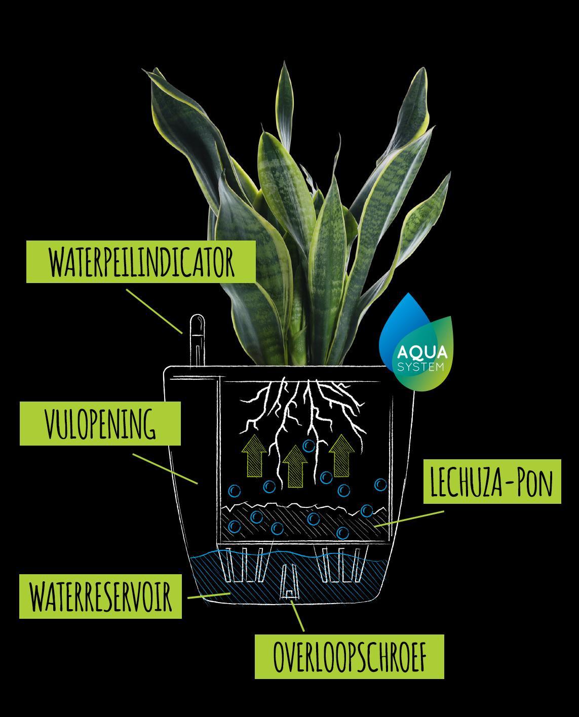 Tekening met uitleg over het klassieke irrigatiesysteem