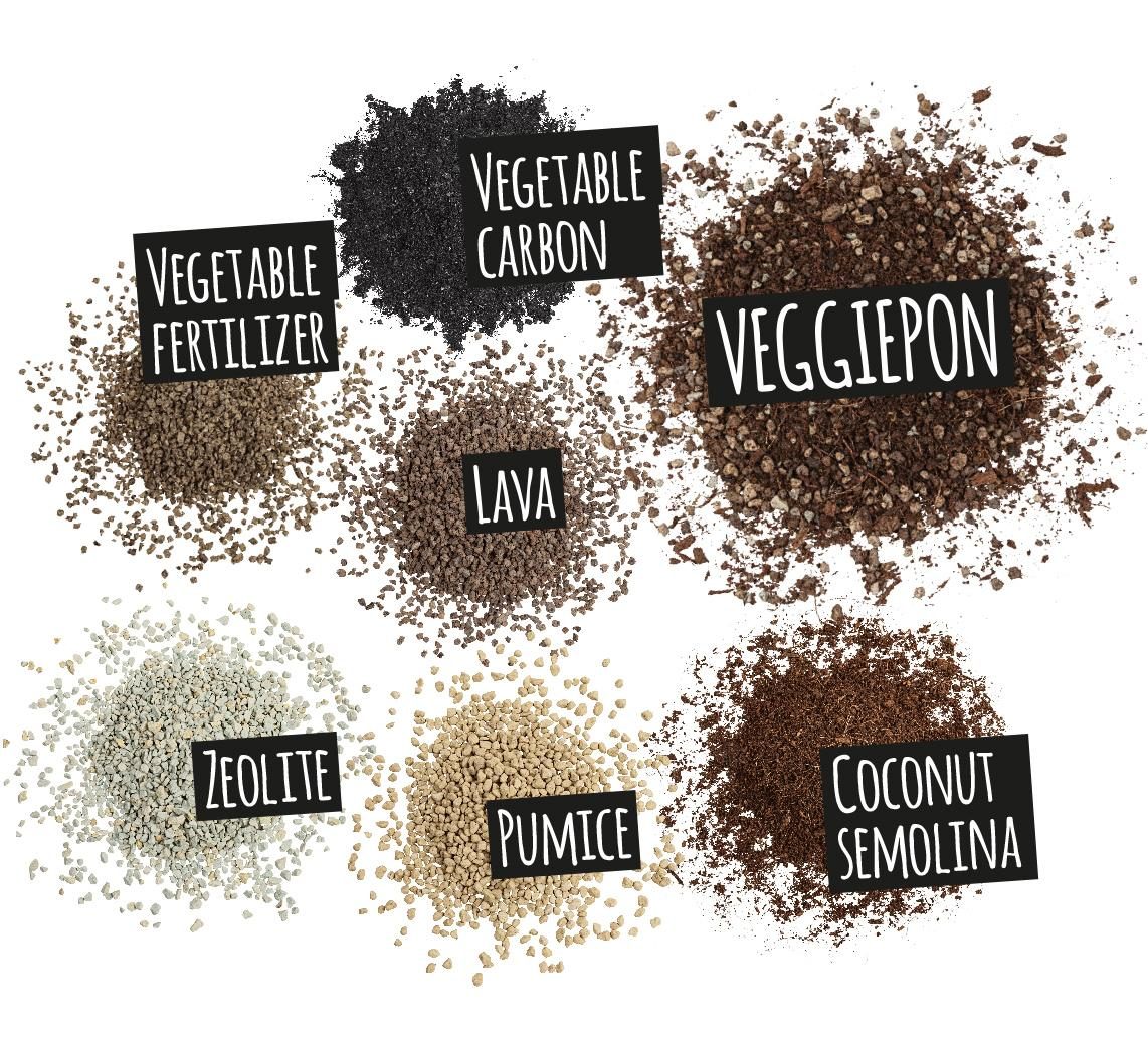 'Components of VEGGIEPON: vegetable carbon