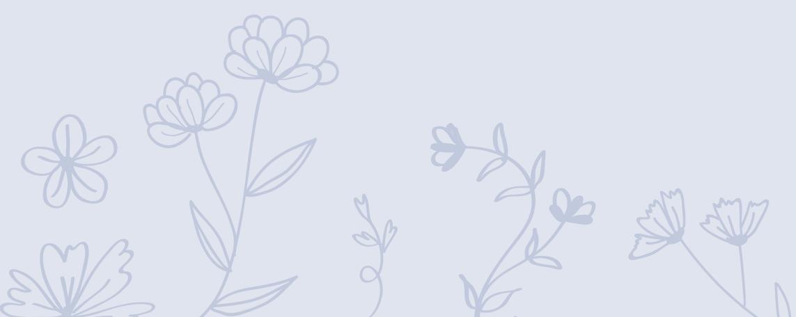 Skizzierte Blüten auf blauem Hintergrund