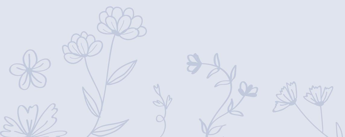 Flores dibujadas sobre fondo azul