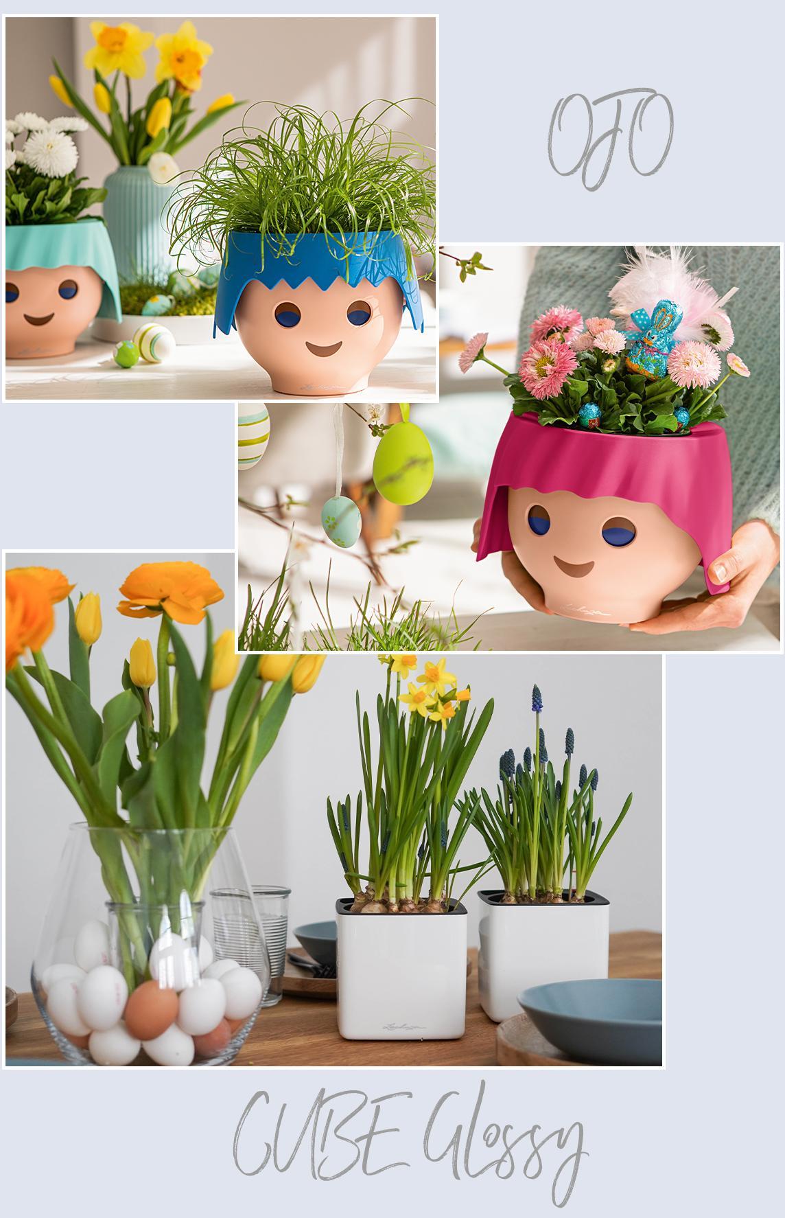 'Цветочные кашпо LECHUZA в форме голов Playmobil с посаженными в них беллисами и декорированные в пасхальном стиле