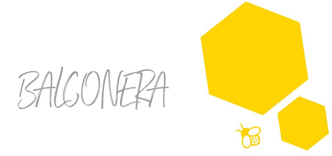 Schriftzug BALCONERA mit zwei Waben und einer Biene