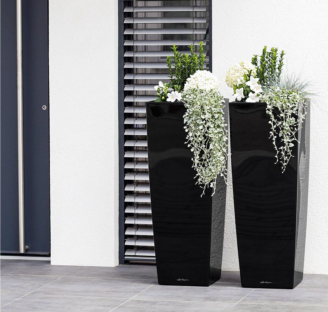 Δύο high gloss μαύρες CUBICO Alto με λευκά λουλούδια μπροστά στην είσοδο ενός μοντέρνου σπιτιού.