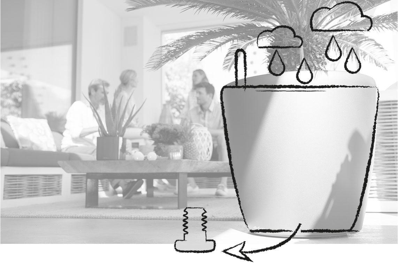 Σκίτσο που δείχνει ότι η βαλβίδα της γλάστρας μπορεί να αφαιρεθεί.