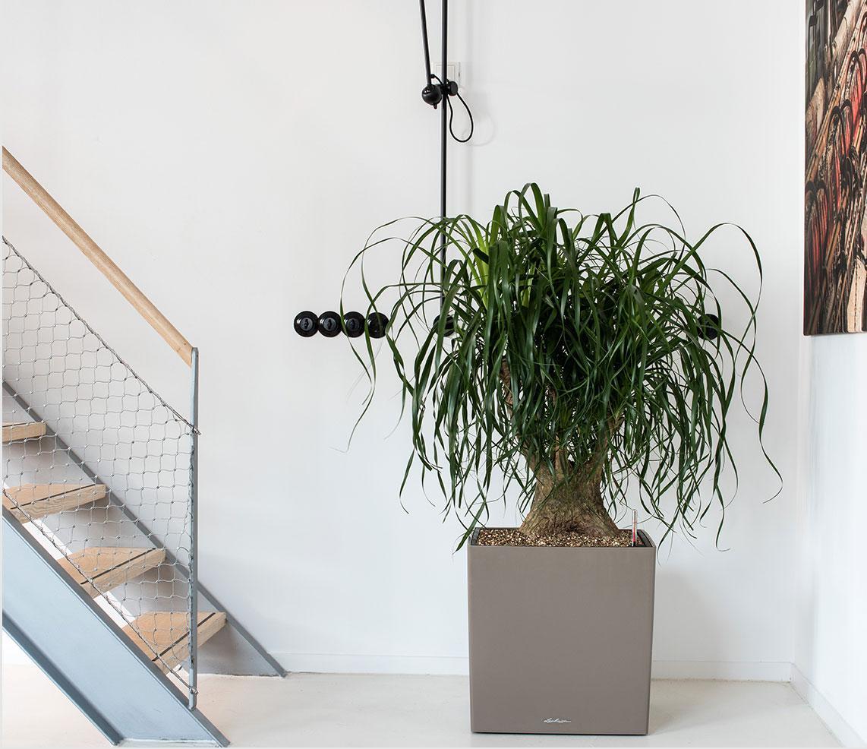El CUBO Premium en color topo se encuentra frente a una moderna escalera de acero.