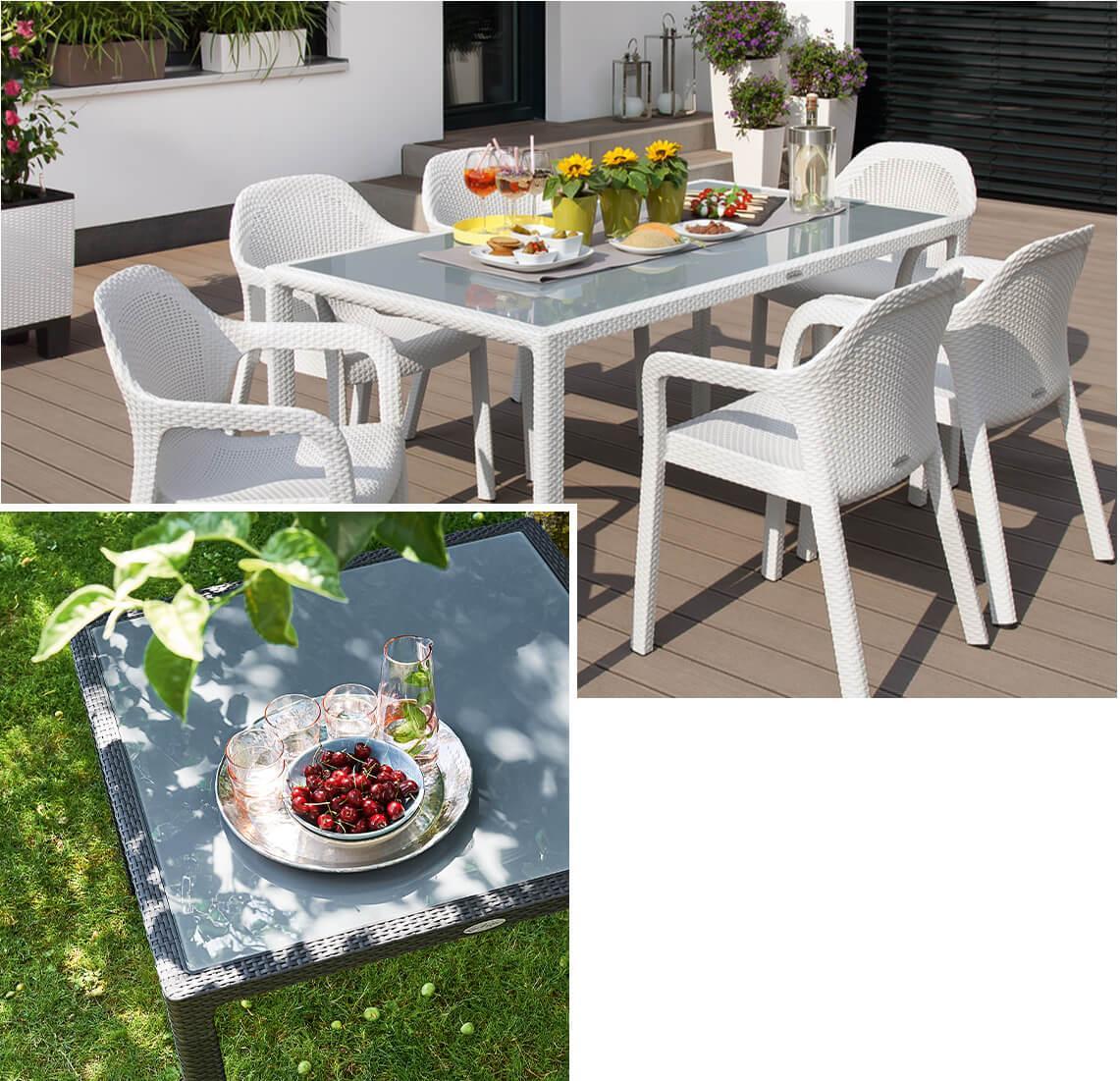Schön gedeckte LECHUZA Gartentische in weiß und granit