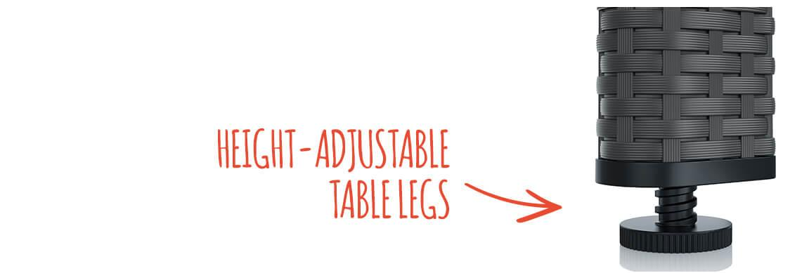 Height-adjustable table leg due to rotating screw at the foot end
