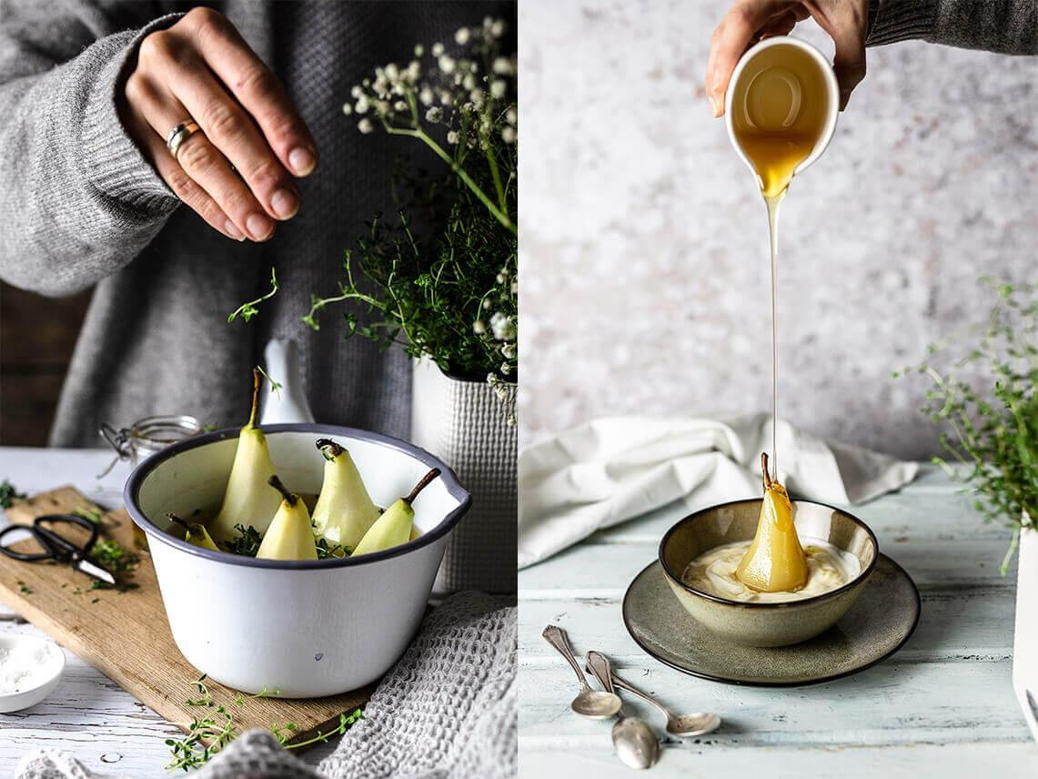 Poires pochées au thym et au yaourt grec