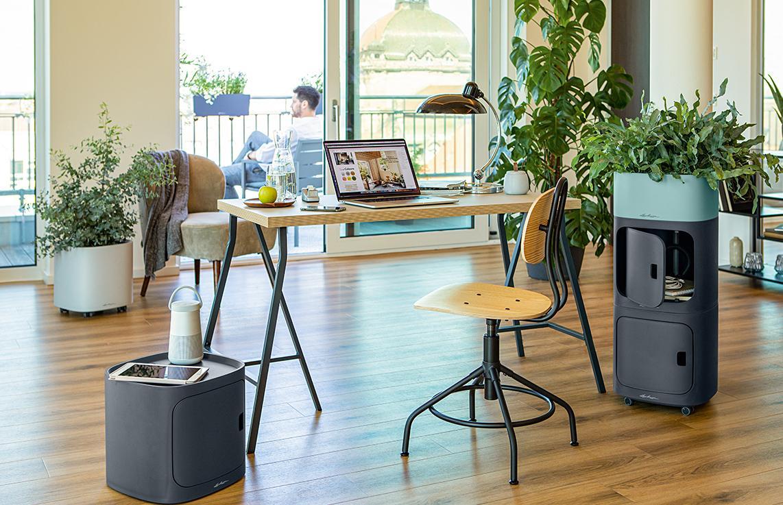 El almacén y la jardinera PILA ofrecen posibilidades de diseño creativo en el lugar de trabajo
