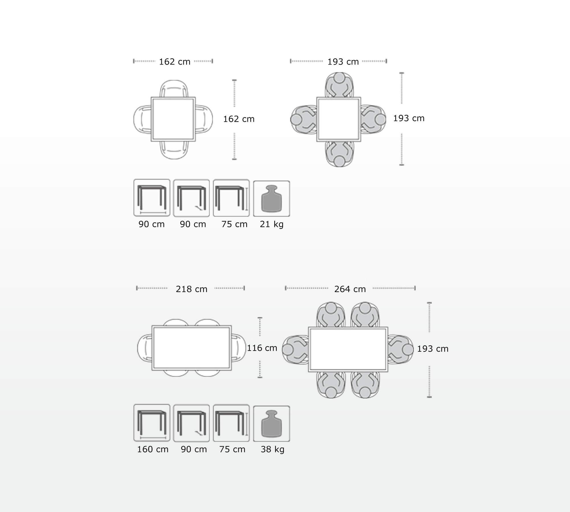 Dimensions of LECHUZA furniture