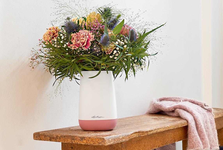 Blumenvase YULA Flower weiß/pearl rose seidenmatt