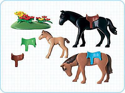 3114-B 2 Pferde mit Fohlen detail image 2