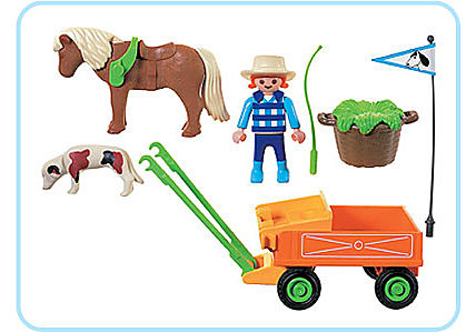 3118-B Enfant/charrette/poney detail image 2