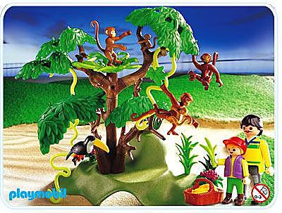 3238-B Famille de singes/arbre detail image 1