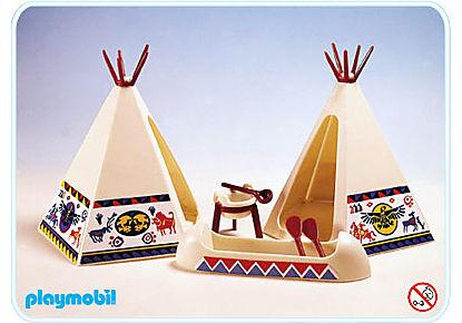 3252-B Tente canoë et feu de camp detail image 1