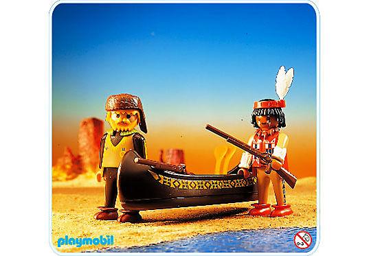 3397-A Indianer und Trapper mit Kanu detail image 1
