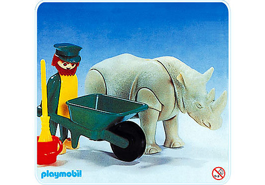 3516-A Gardien de zoo et rhinocéros detail image 1