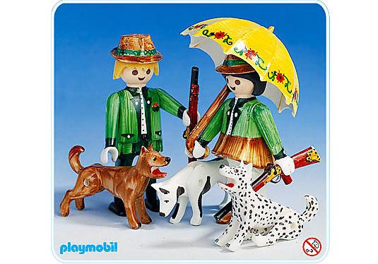 3617-A Couple de chasseurs avec chiens detail image 1
