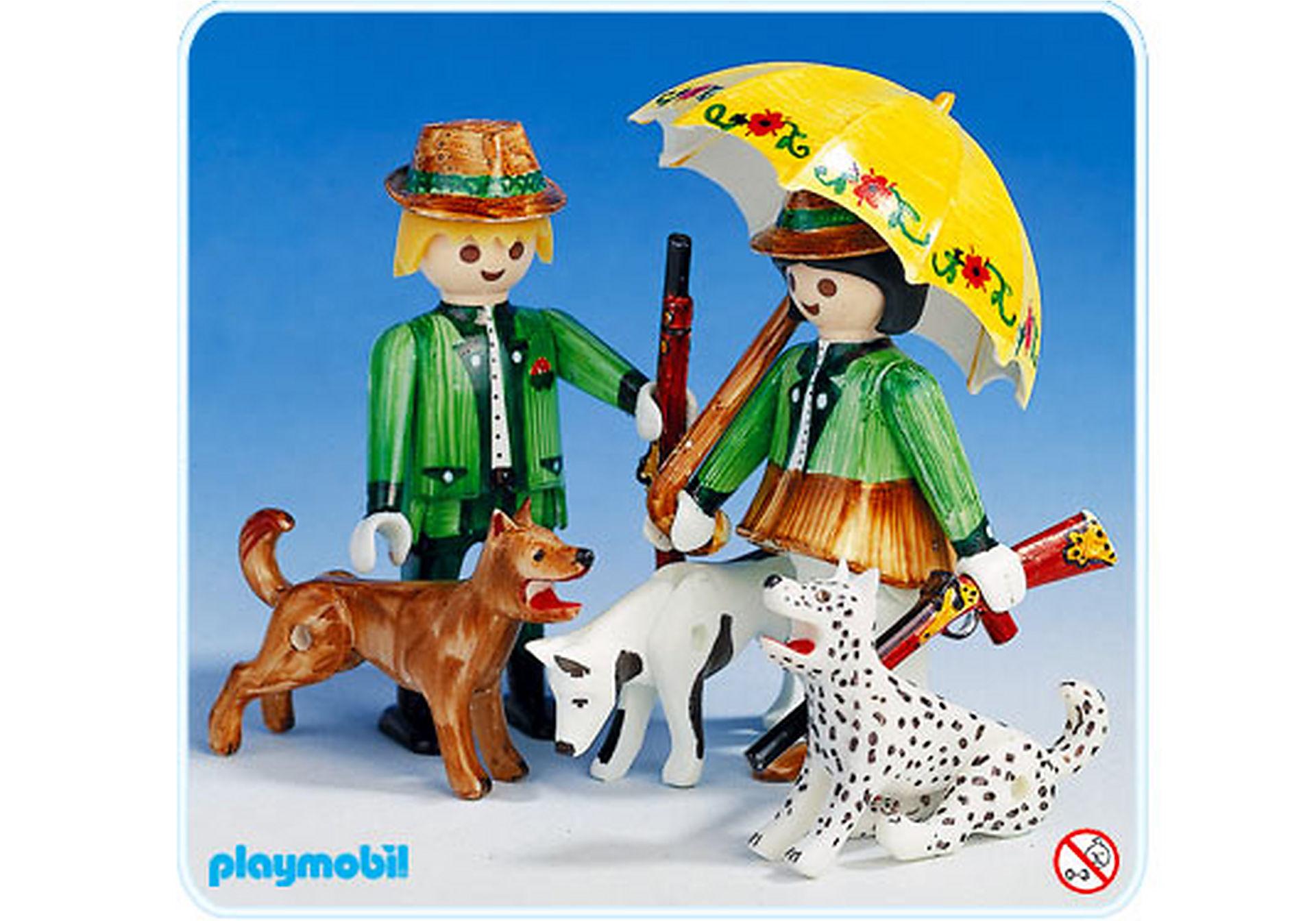3617-A Couple de chasseurs avec chiens zoom image1