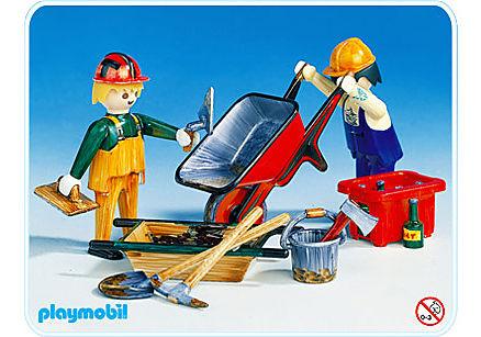 3690-A 2 Bauarbeiter mit Schubkarren detail image 1