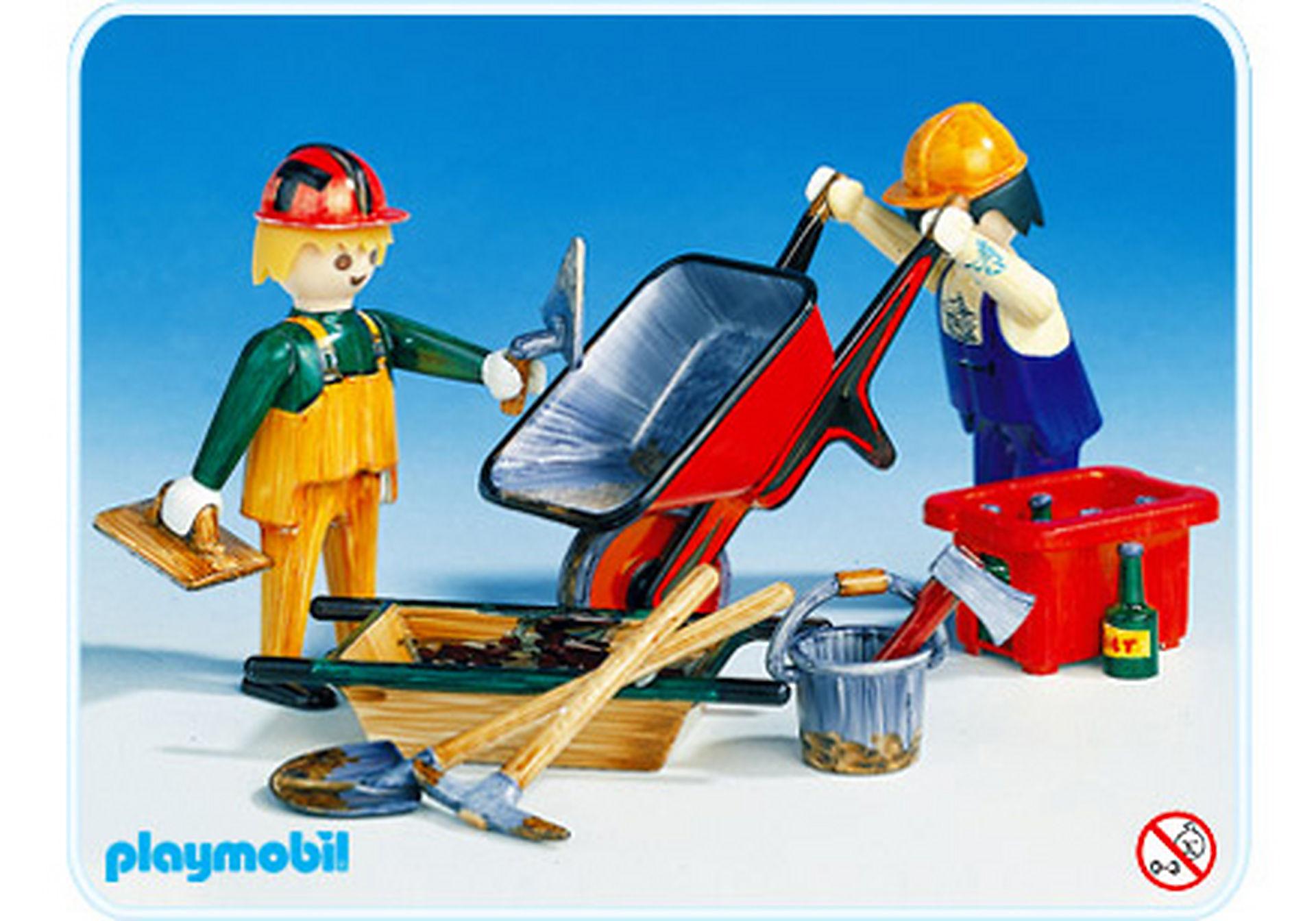 3690-A 2 Bauarbeiter mit Schubkarren zoom image1