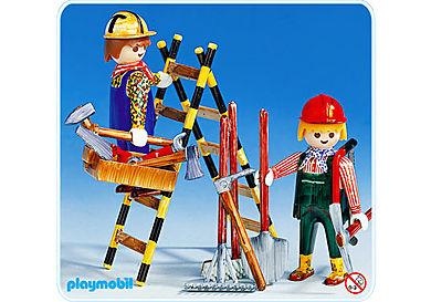 3691-A 2 Bauarbeiter mit Leiter
