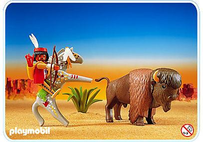 3731-A Bison und Indianer mit Pferd detail image 1