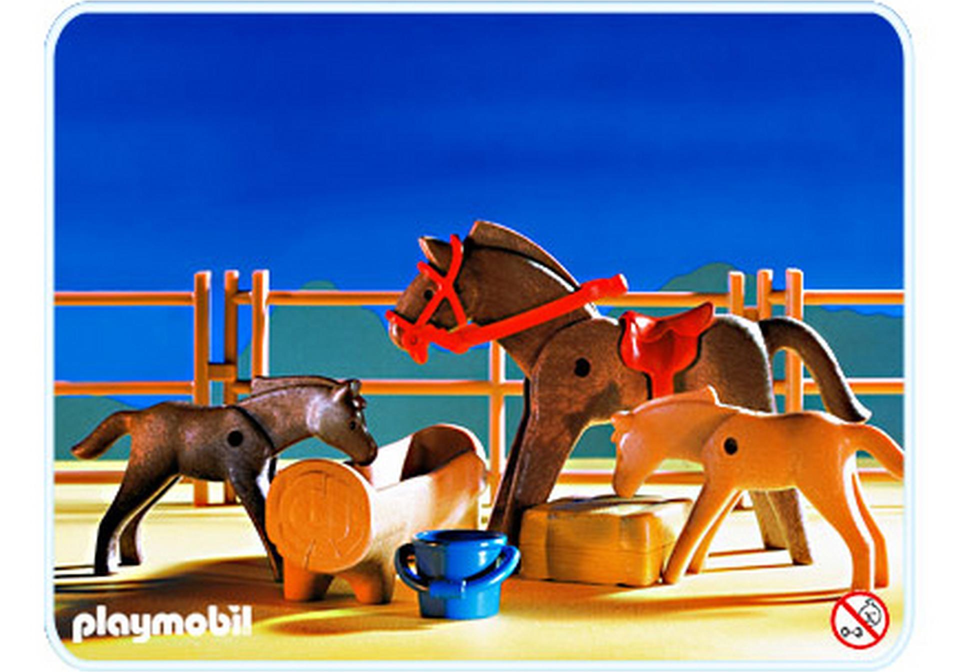 Enclos chevaux abreuvoir 3856 a playmobil france - Pferde playmobil ...