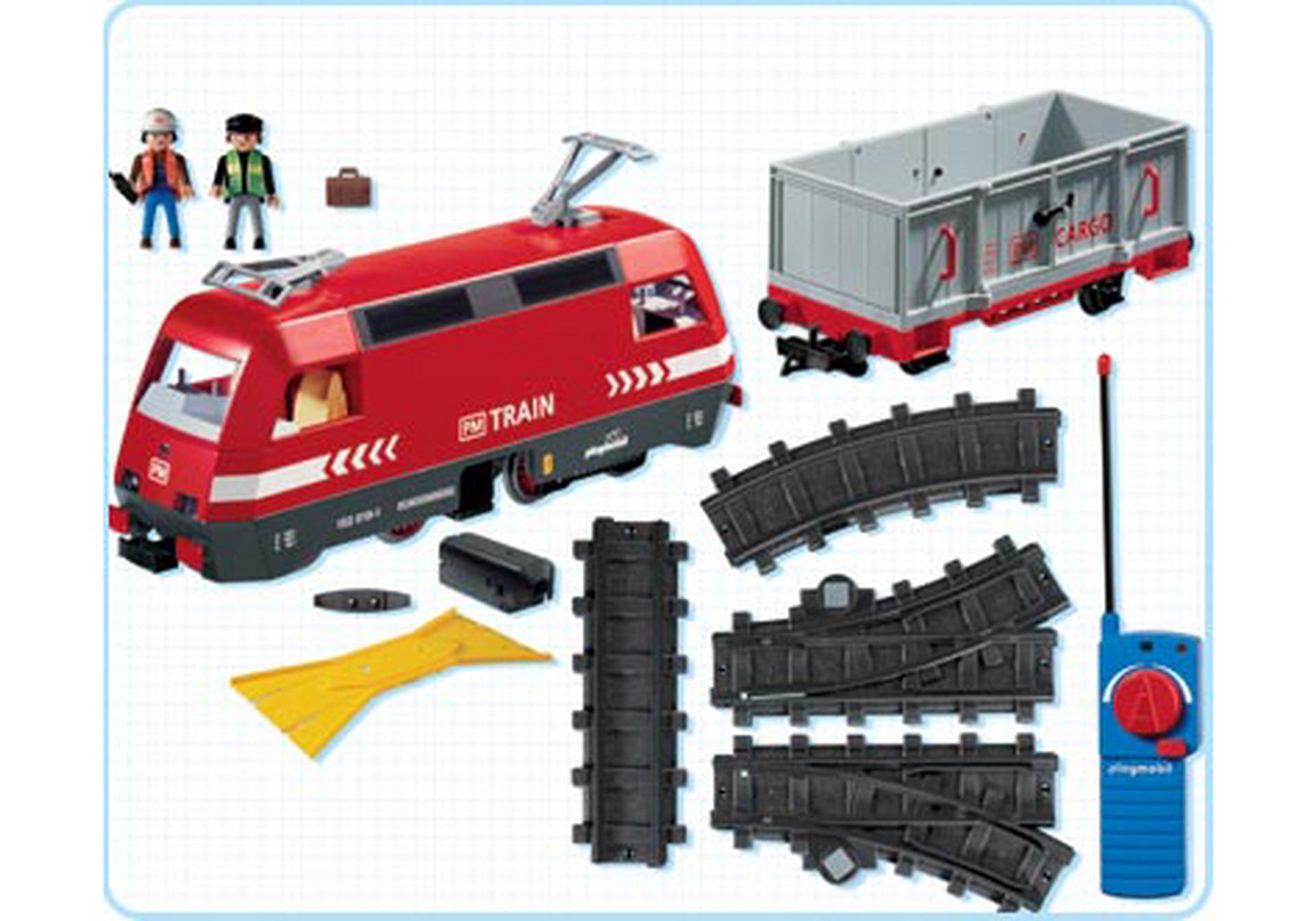 Train de marchandises rc avec phares 4010 a playmobil - Train playmobil ...