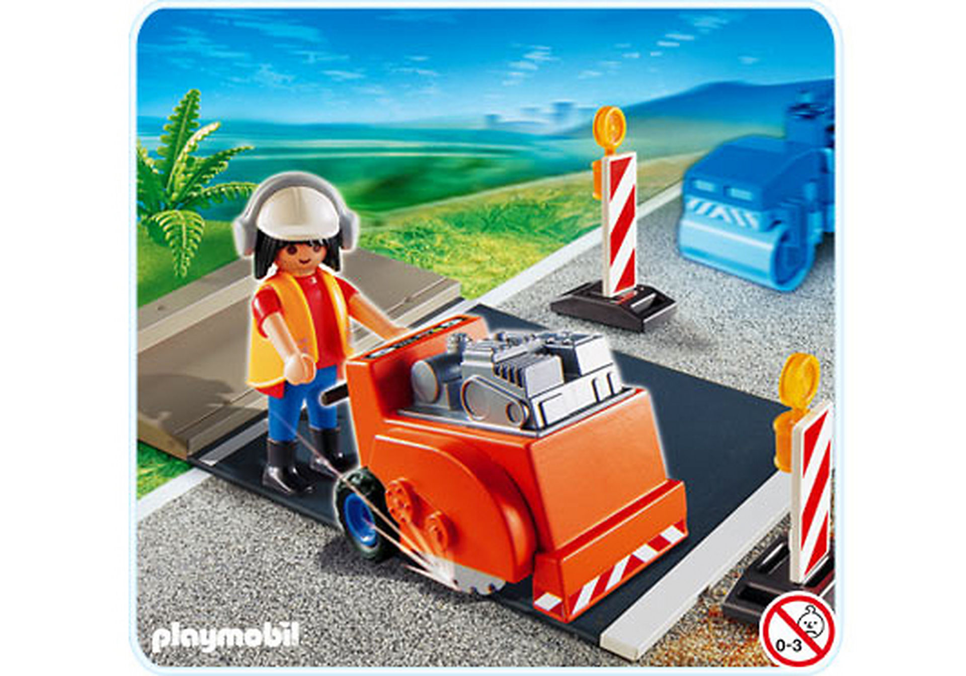 4044-A Ouvrier avec scie à bitume zoom image1