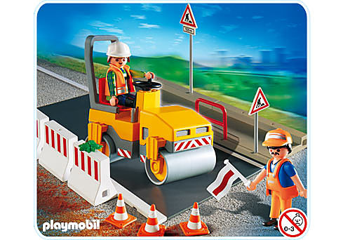 4048-A Ouvriers avec rouleau compresseur detail image 1