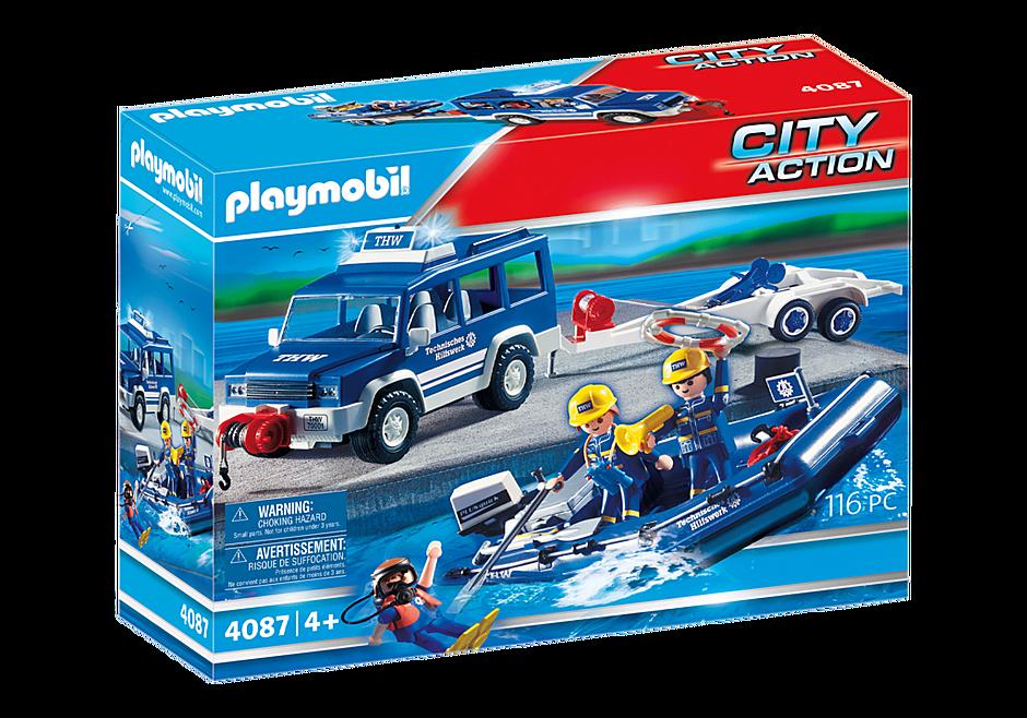 4087 Secouristes avec voiture et bateau detail image 2