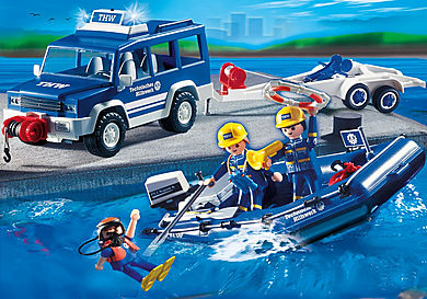 4087 Rescue Boat and Vehicle
