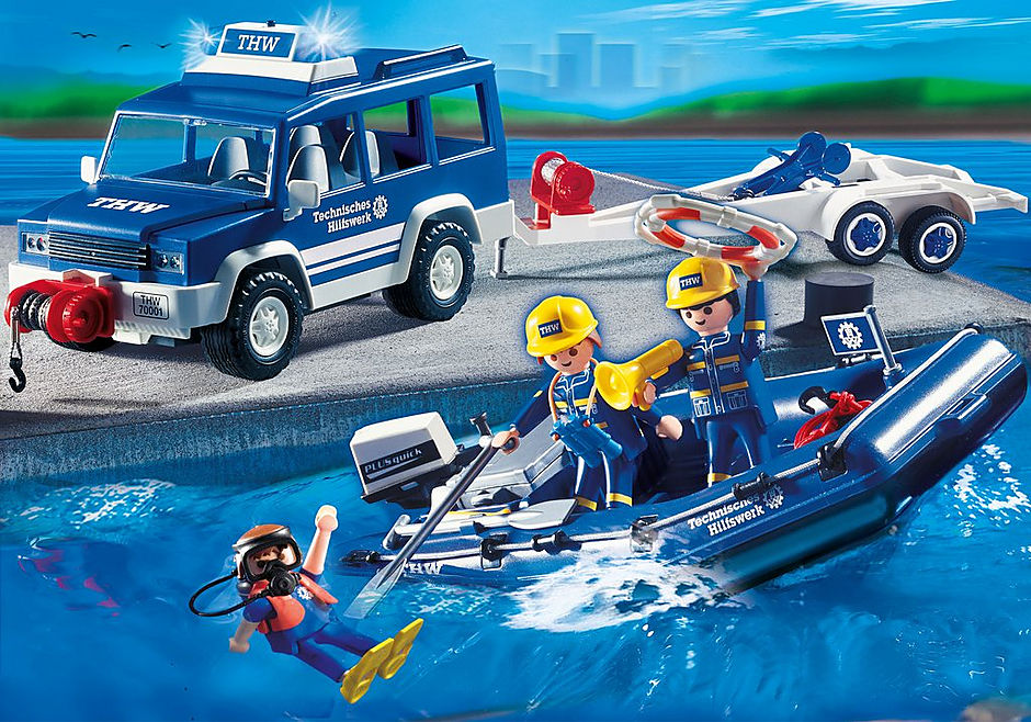 4087 Secouristes avec voiture et bateau  detail image 1