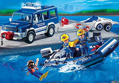 4087 Secouristes avec voiture et bateau