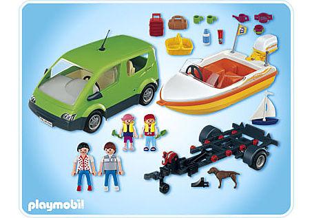 4144-A Voiture familiale avec remorque porte-bateaux detail image 2