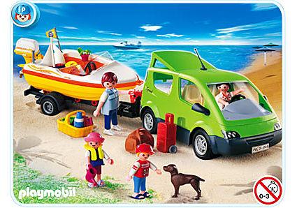 4144-A Voiture familiale avec remorque porte-bateaux detail image 1