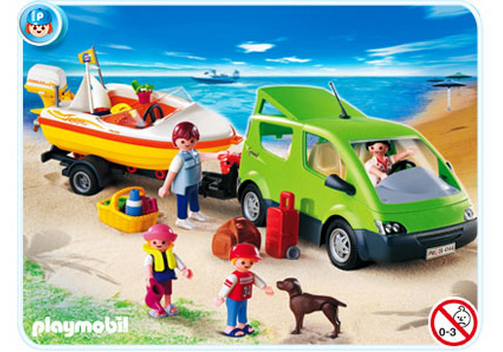 voiture familiale avec remorque porte bateaux 4144 a playmobil france. Black Bedroom Furniture Sets. Home Design Ideas