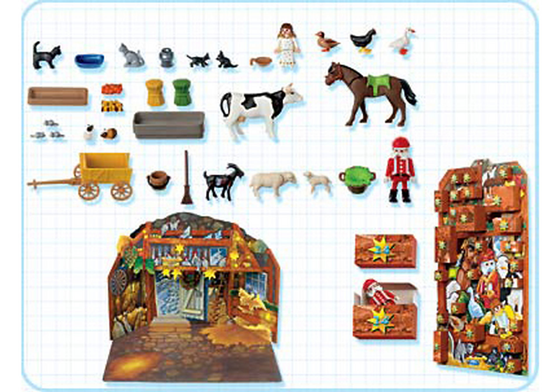 http://media.playmobil.com/i/playmobil/4151-A_product_box_back/Calendrier de l`Avent Animaux / Etable