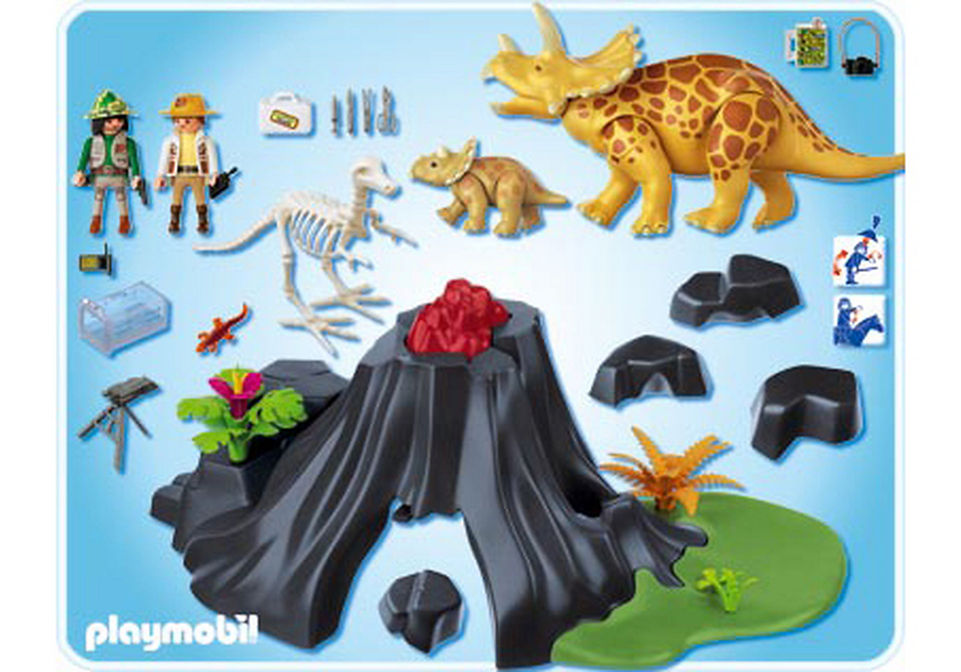 http://media.playmobil.com/i/playmobil/4170-A_product_box_back/Triceratops mit Baby und Vulkan