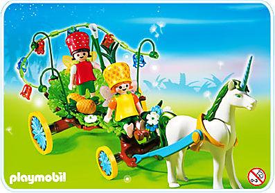 4195-A Calèche avec licorne et fées detail image 1
