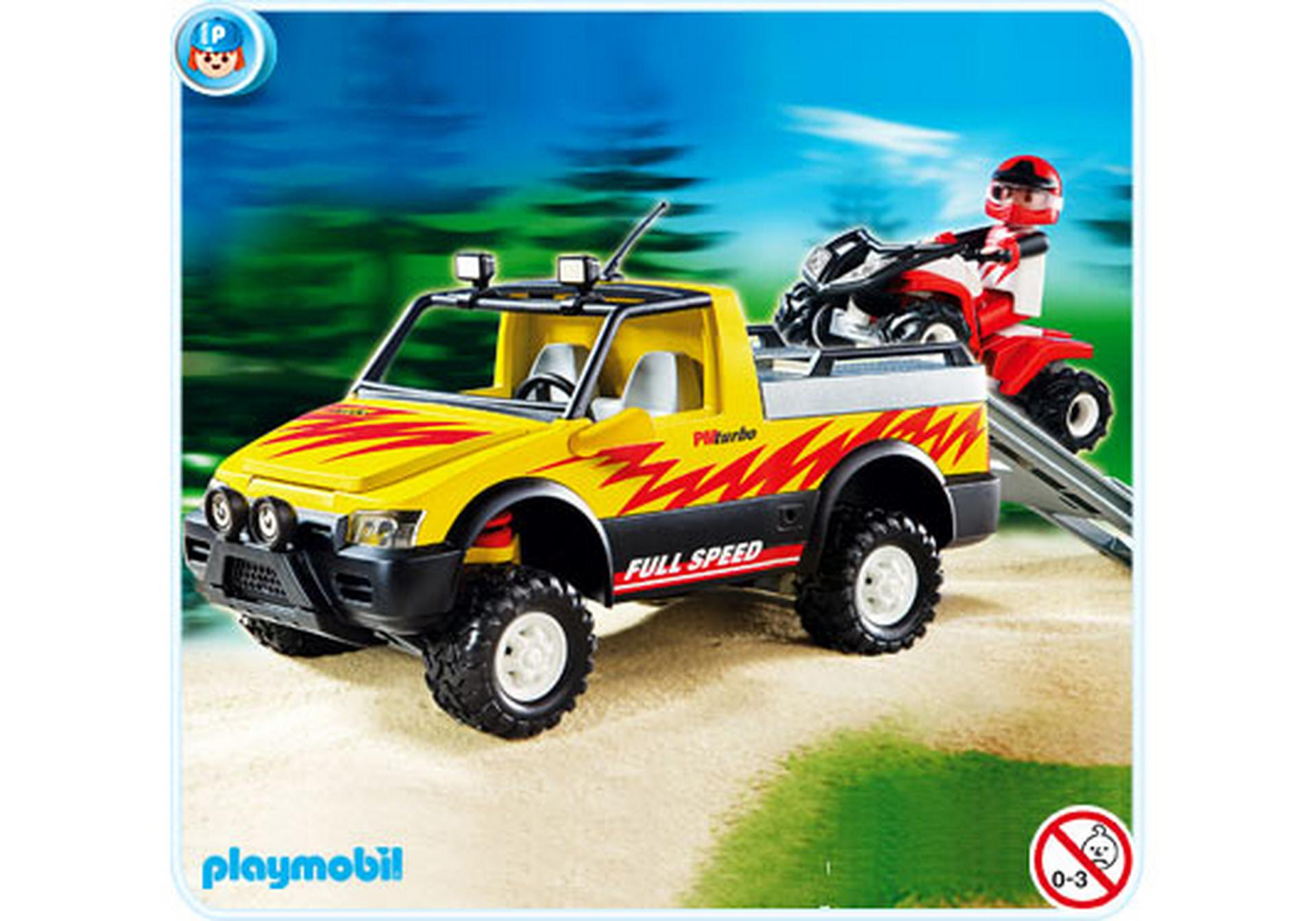 pick up mit racing quad 4228 a playmobil deutschland. Black Bedroom Furniture Sets. Home Design Ideas