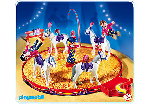 4234-A Voltigeurs avec chevaux et manège detail image 1