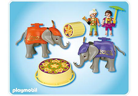 4235-A Enfants acrobates et éléphanteaux detail image 2